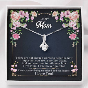 Mother's Day Necklace - Gift For Mom From Daughter - 14k White Gold Necklace - I Love You So Much, There Are Not Enough Words To Describe How Important You Are In My Life