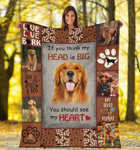 GOLDEN RETRIEVER DOG BLANKET - YOU SHOULD SEE MY HEART