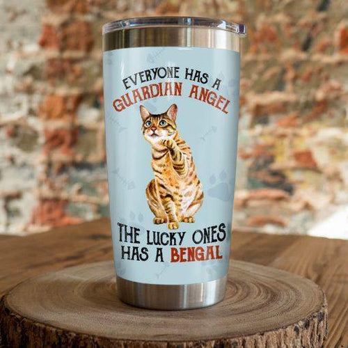 Bengal Cat Steel Tumbler Cup - The lucky ones has a Bengal
