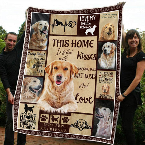 GOLDEN RETRIEVER DOG BLANKET - A HOUSE IS NOT A HOME WITHOUT GOLDEN RETRIEVER