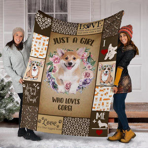 JUST A GIRL WHO LOVES CORGI DOG BLANKET - Family Presents - Great Blanket, Canvas, Clothe, Gifts For Family