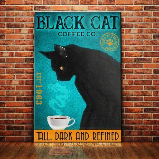 Black Cat Coffee Company Canvas - Tall. Dark and Refined -  Anniversary Birthday Christmas Housewarming Gift Home
