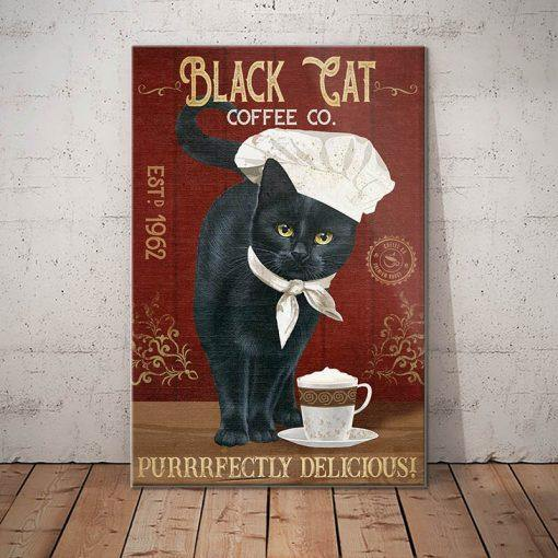 Black Cat Coffee Company Canvas - Purrrfectly Delicious - Anniversary Birthday Christmas Housewarming Gift Home
