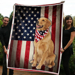 US FLAG GOLDEN RETRIEVER DOG BLANKET