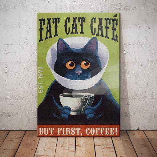 Black Cat Coffee Company Canvas - But first, coffee - Anniversary Birthday Christmas Housewarming Gift Home