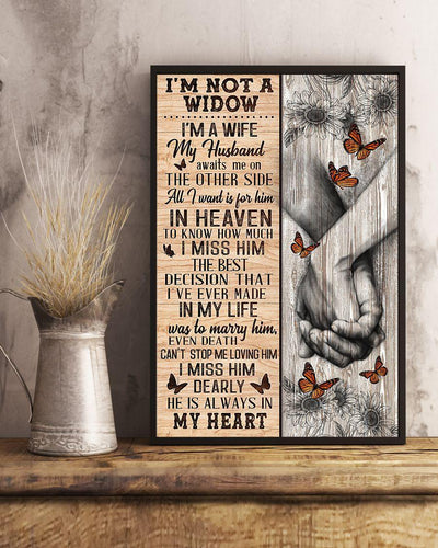 Butterfly canvas - I'm not a widow My husband awaits me on the other side - He is always in my heart