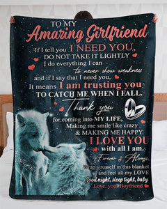 Gift for girlfriend Fleece Blanket - Couple wolf - Thank you for coming into my life - Valentine gift for her