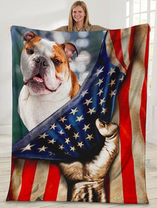 Dog Blanket 3D English Bulldog Dog American USA Flag Fleece Blanket