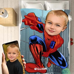 Personalized Kid Blanket - Personalized Hand-Drawing Kid's Photo Portrait Spider-man Fleece Blanket II - Childrens Gift for Her/Him Toddler Children's Blanket - birthday, christmas day- Custom your name and photo