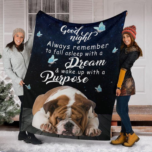 Bulldog Good Night Fleece Blanket Christmas, For Daughter, For Dog Lover