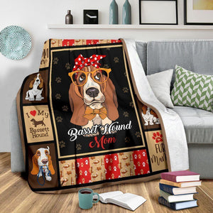 Dog Blanket Basset Hound Dog Mom Mama Red Bandana Mother's Day Gift Fleece Blanket