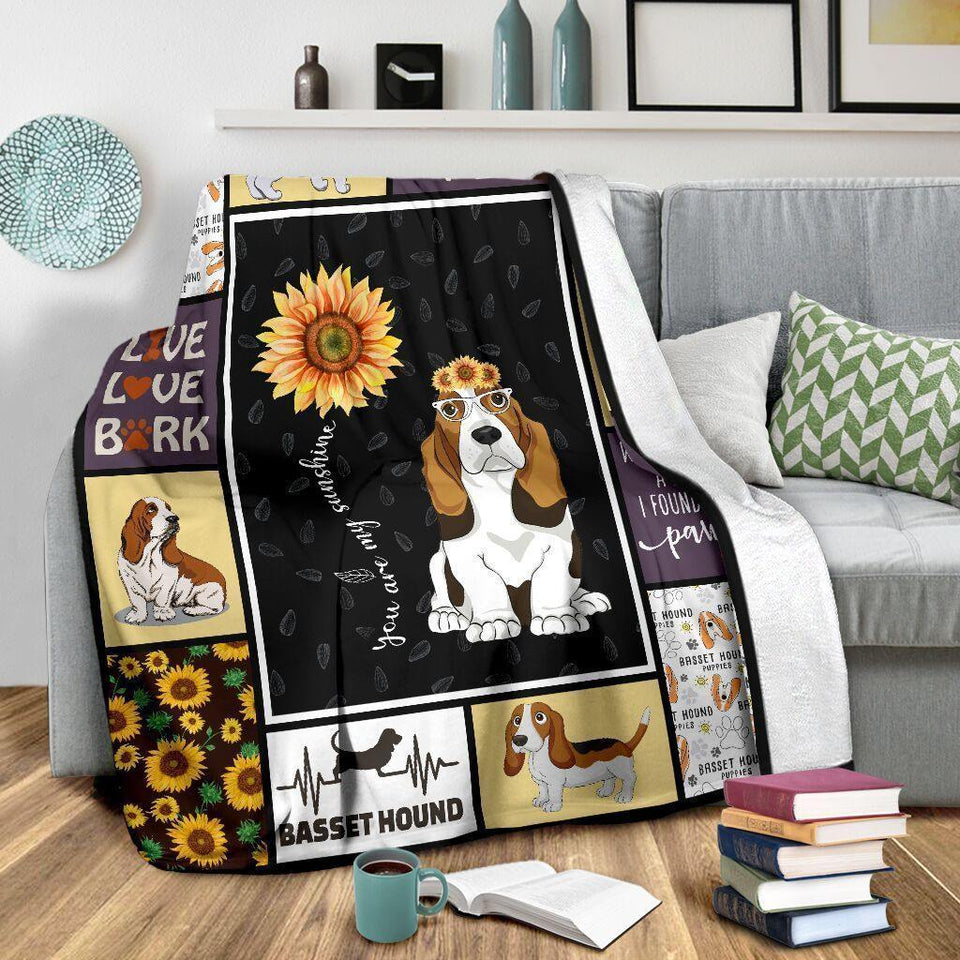 Dog Blanket You Are My Sunshine Basset Hound Dog Sunflower Fleece Blanket