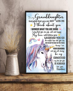 I THINK ABOUT YOU - LOVELY GIFT FOR GRANDDAUGHTER Vertical canvas