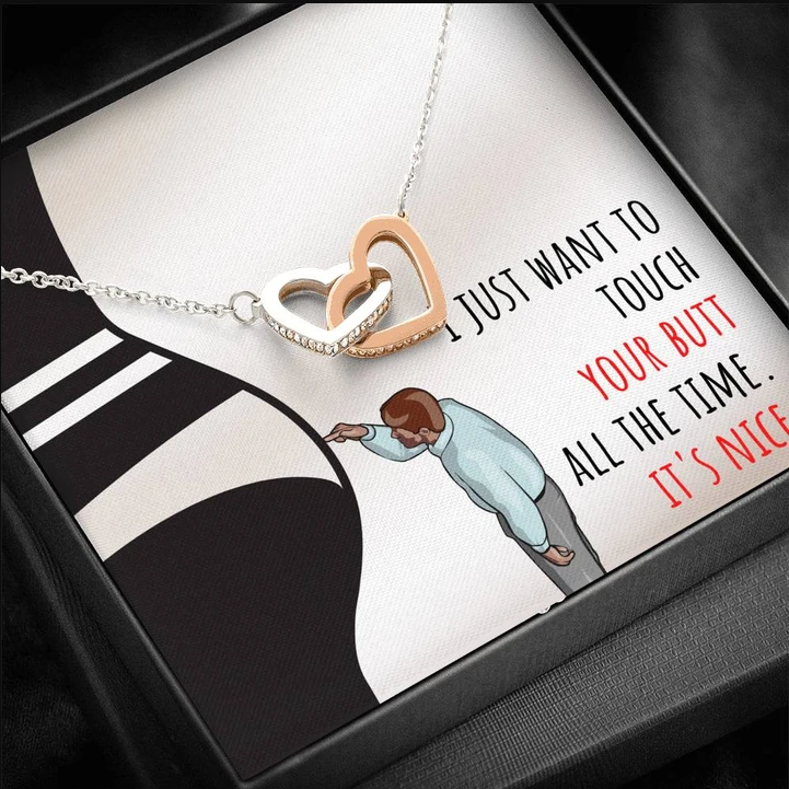Husband To Wife Necklace - Funny gift card - Just want to touch your butt - Valentine gift for her