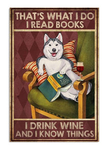Husky read book rink wine Vertical Canvas - Family Presents - Great Blanket, Canvas, Clothe, Gifts For Family