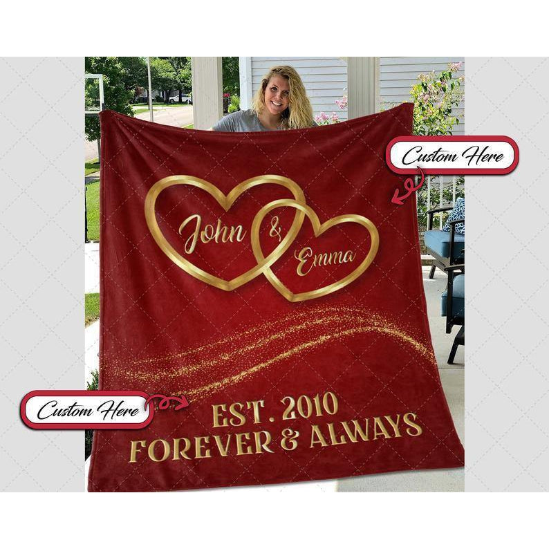 Personalized Blanket 3, Our First Valentine Engaged Blanket, Blanket For Couple, Valentine Gift For Wife Husband