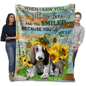 Dog Blanket Beagle Dog When I Saw You I Fell In Love Fleece Blanket
