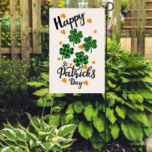Happy St Patrick's Day Small Garden Flag Vertical Burlap Yard Outdoor Decor - Family Presents - Great Blanket, Canvas, Clothe, Gifts For Family