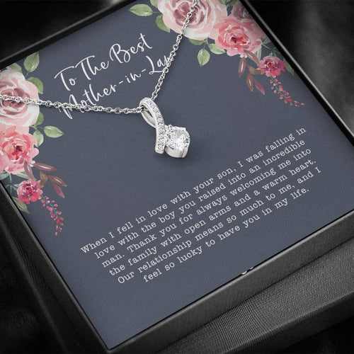 Mother's Day Alluring Necklace, Gift For Future Mother In Law From Daughter In Law, 14k White Gold Necklace, When I Fell In Love With Your Son