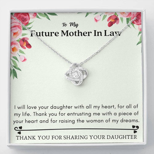 Mother's Day Necklace - Gift For Mother In Law From Son In Law - 14k White Gold Necklace, Thank You For Sharing Your Daughter