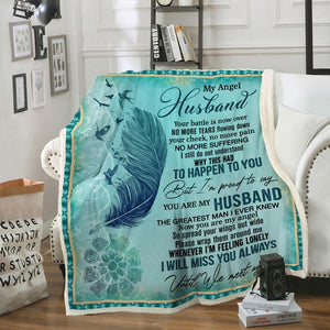 To My Angel Husband Blanket - I Will Miss You Always  - Valentine Gift For Husband , Valentine Blanket For Couple