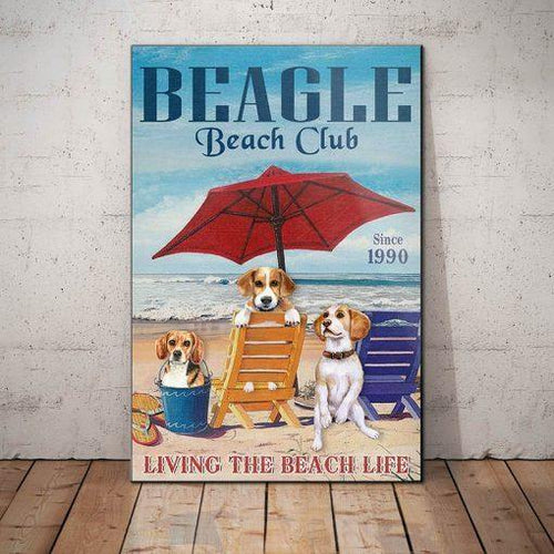 Beagle Dog Beach Club Canvas