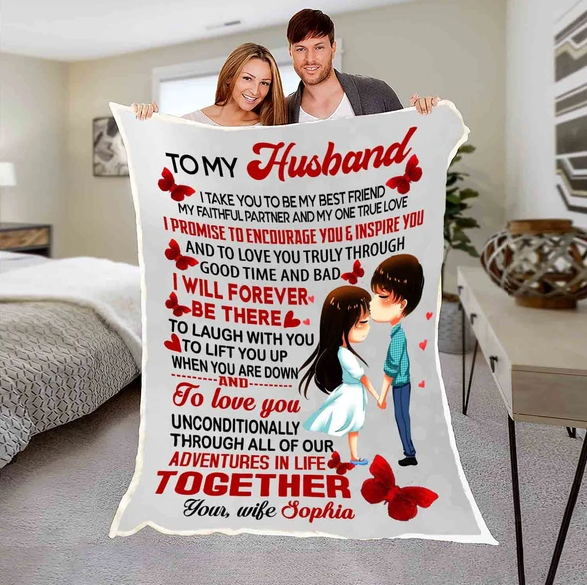 Personalized Blanket For Husband - Valentinr gift for him - I will forever be there - Family Presents - Great Blanket, Canvas, Clothe, Gifts For Family