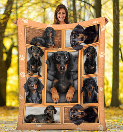 Dachshund portrait -Fleece Blanket, Gift for you, gift for her, gift for him, trending product, gift for dog lover, gift dachshund lover