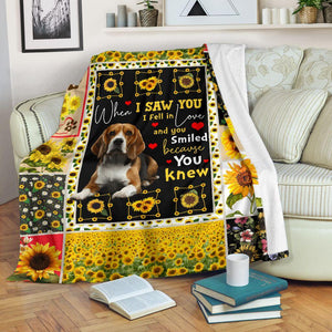 Beagle Dog Blanket - When I saw you I fell in love