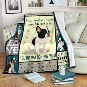 Boston Terrier Dog Sofa Blanket - I'll be watching you - Family Presents - Great Blanket, Canvas, Clothe, Gifts For Family