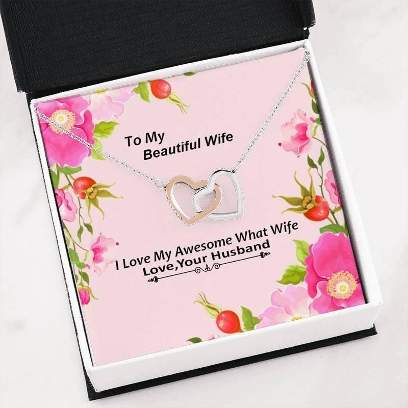 To My Beautiful Wife Necklace - I Love My Awesome What Wife - Valentines Gift, Wife Necklace Gift, Husband to Wife Gift