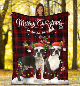 Merry Christmas, Boston Terrier Dog Sofa Blanket - Family Presents - Great Blanket, Canvas, Clothe, Gifts For Family