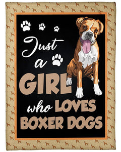 Just A Girl Who Loves Boxer Dogs, Gift For Birthday, Christmas Fleece Blanket