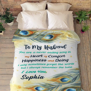 Customized Blanket For Husband - Valentine gift for him - You Are A Never Ending Song In My Heart Of Comfort - Family Presents - Great Blanket, Canvas, Clothe, Gifts For Family
