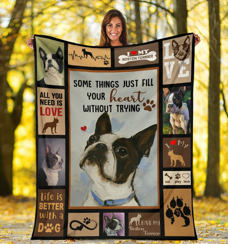 Boston Terrier Dog Sofa Blanket - Love My Boston Terrier - Family Presents - Great Blanket, Canvas, Clothe, Gifts For Family