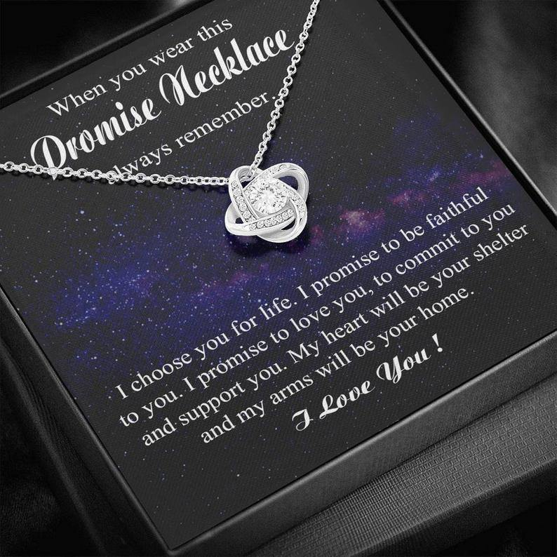 Promise Love Knot Necklace for Her, Gift for Girlfriend from Boyfriend, Vanlentine gift for her - Anniversary Gift for Girlfriend