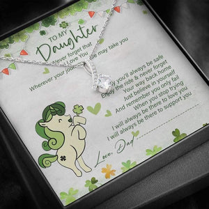 Alluring Beauty Necklace Gift - Dad To Daughter Gift – Unicorn St. Patricks Day Necklace - The Jewelry For Daughter - Family Presents - Great Blanket, Canvas, Clothe, Gifts For Family