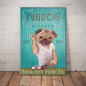 Pug Dog Kitchen Canvas - Gourmet Food Co. - Anniversary Birthday Christmas Housewarming Gift Home