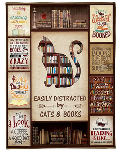 Cat & Book Blanket, Reading Is Dreaming With Open Eyes Fleece Blanket