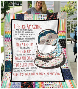 BLANKET - Sloth - Life Is Amazing - Family Presents - Great Blanket, Canvas, Clothe, Gifts For Family