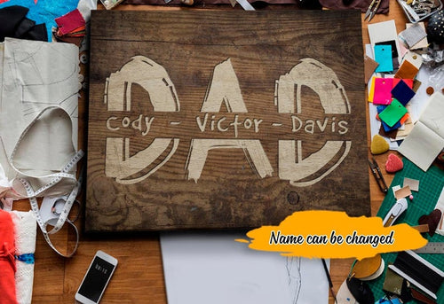Fathers Day Canvas - Personalized Fathers Day Gifts For Dad, Birthday Gift for Dad, Dad Sign Home Decor, Happy Fathers Day Canvas, Family Wall Art