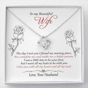 "To My Beautiful Wife, Valentine gift for her - ""Missing piece"" - Love knot necklace - From Husband - Family Presents - Great Blanket, Canvas, Clothe, Gifts For Family"