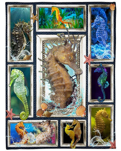 3D Seahorse Blanket, Seahorse Frame The Picture, Gift For Daughter Son Fleece Blanket