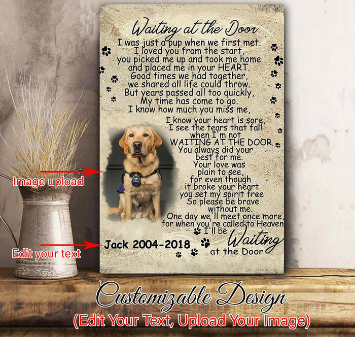 Personalized canvas - Waiting at the door - Gift for dog lovers - Custom with picture and dog's name
