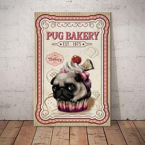 Pug Bakery Canvas - Fresh Delicious - Anniversary Birthday Christmas Housewarming Gift Home