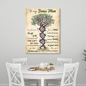 Mothers Day Canvas  To My Bonus Mom Poster Canvas Poster, Life Gave Me The Gift Of You, Tree Of Life Design, Mothers Day Gift, Adoptive Parent Gift