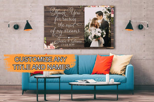 Mothers Day Canvas  Personalized Mother Of The Groom Canvas Poster, Custom Portrait From Photo, Mothers Day Print, Thank You Gift From Bride, Mother In Law Gift