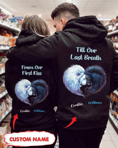 Personalized Till Our Last Breath Lion Hoodie - Valetine's Day Gifts - Valentine Gift For Wife, Girlfriend, Husband, Valentine Gift For Couple