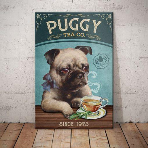 Puggy Tea Company Canvas - Anniversary Birthday Christmas Housewarming Gift Home
