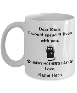 "Mothers Day Mug  Personalized White Mug, Funny Dear Cat Mom ""9 Lives"" Mug, Mother'S Day Gift"